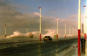 Storm waves batter Blackpool Promenade